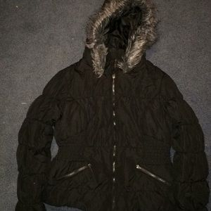 Maralyn & Me black puffer jacket; faux fur hood